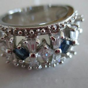 Jewelry - Vintage 925 CZ Sapphire and Clear CZ Silver Ring